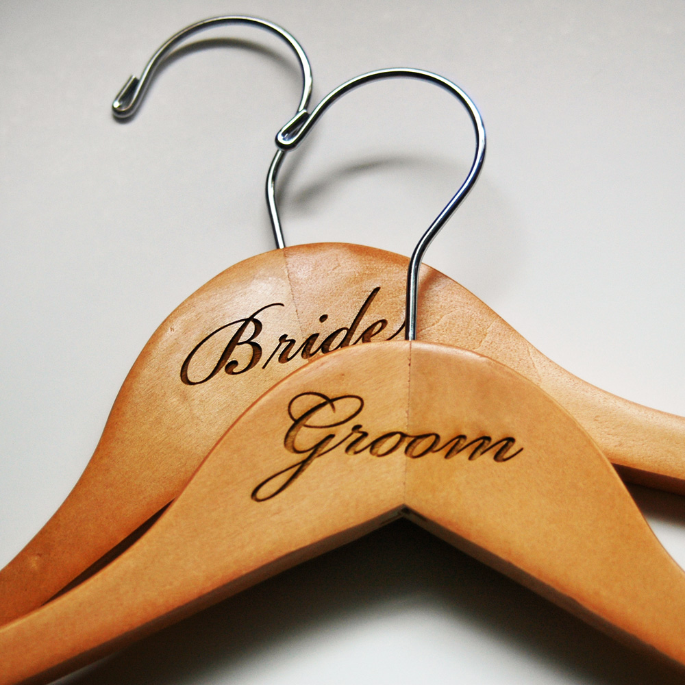 engraved bride and groom hangers you choose wood finish wedding hangers bride and groom wedding hangers