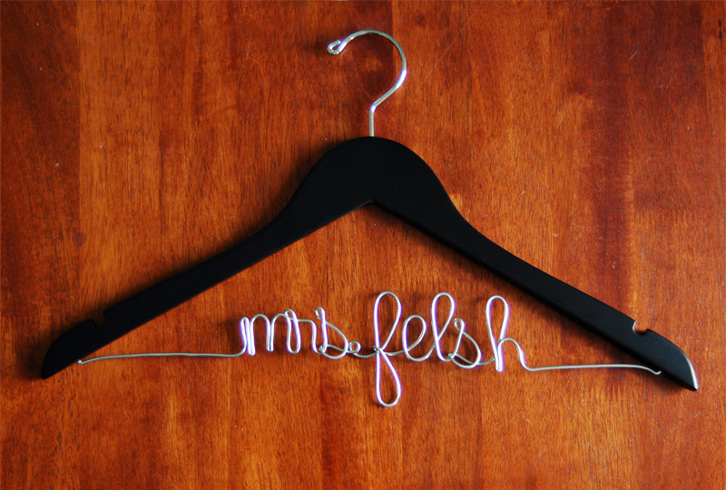 custom bridal hanger black finish personalized wedding hanger