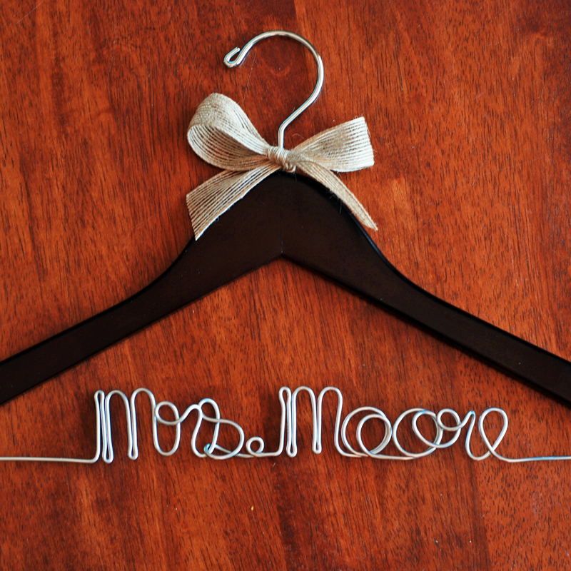 rustic bridal hanger personalized hanger with burlap bow