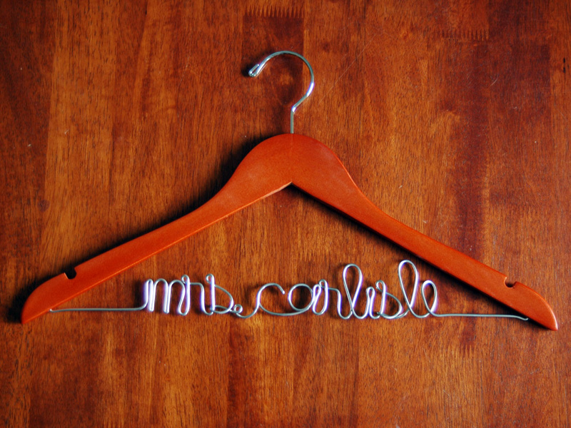 custom wedding hanger cherry finish personalized bridal hanger