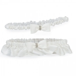 Silk Wedding Garter with Rhinestones in Ivory or White