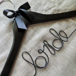 Bride Hanger with purple wire and bow