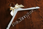 custom wedding hanger with date two lines