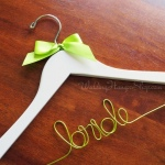 Bride Hanger with apple green bow