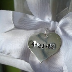 custom satin bridal hanger with wedding date charm