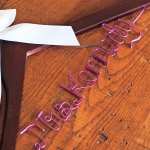 custom bridal hanger with purple wire