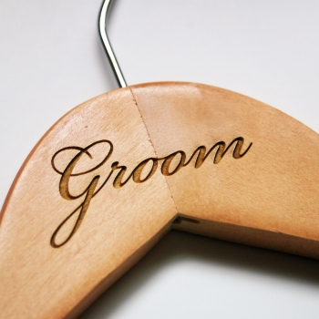 engraved bride and groom wedding hangers