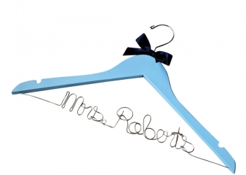 blue wedding hanger with bow