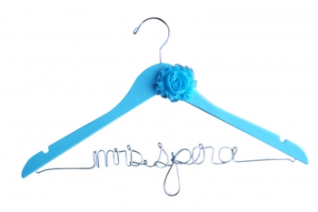 blue wedding hanger with flower