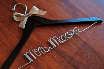wedding hanger with ribbon