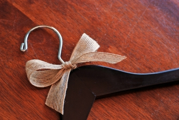 Burlap Bow included on this wedding hanger!