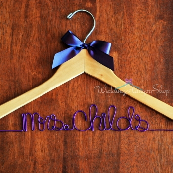 custom bridal hanger with colored wire