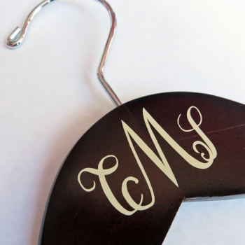 wedding dress hanger with monogram detail