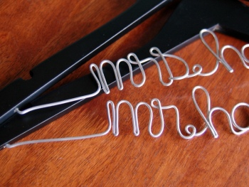 bride & groom personalized wedding hangers