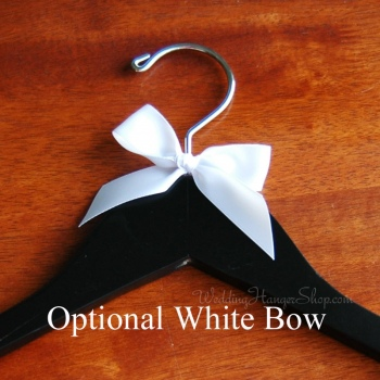 custom wedding hanger with white ribbon